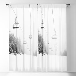 Snow Lift // Ski Chair Lift Colorado Mountains Black and White Snowboarding Vibes Photography Art Print Blackout Curtain
