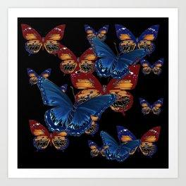 BLACK-BROWN  & BLUE BUTTERFLIES ART Art Print