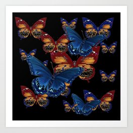 BLACK-BROWN  & BLUE BUTTERFLIES ART Art Print
