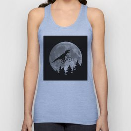 Biker t rex In Sky With Moon 80s Parody Unisex Tank Top