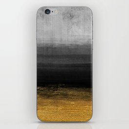 Black and Gold grunge stripes on modern grey concrete abstract background - Stripe -Striped iPhone Skin