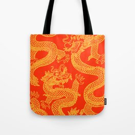Red and Gold Battling Dragons Tote Bag