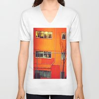 industrial V-neck T-shirts featuring Orange Industrial by Thick Paint Works