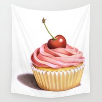 cupcake Wall Tapestries featuring The Perfect Pink Cupcake by Patricia Shea Designs