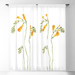 orange freesia watercolor Blackout Curtain