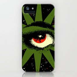 Red and Green All Seeing Cosmic Eye iPhone Case