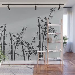 Bamboo black - grey Wall Mural