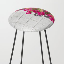Bougainvilleas and White Brick Wall in Palm Springs, California Counter Stool