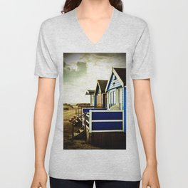 Hengistbury Head Beach Huts Dorset England UK Unisex V-Neck