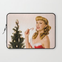 """""""What Should We Unwrap First?"""" - he Playful Pinup - Christmas Pinup Girl by Maxwell H. Johnson Laptop Sleeve"""