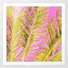 Tropical Palm pink yellow Art Print