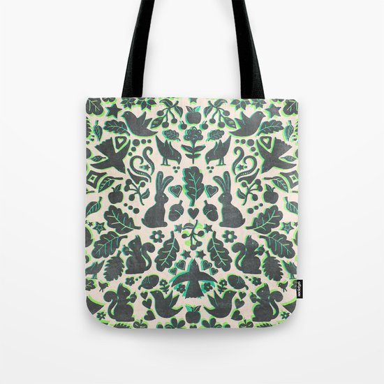Two Rabbits - folk art pattern in grey, lime green & mint Tote Bag