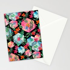 Whimsical Hexagon Garden on black Stationery Cards