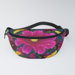 PINK COSMOS YELLOW BUTTERFLIES GARDEN ABSTRACT Fanny Pack