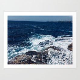 Waves hitting rocks, Clovelly Beach, NSW, Australia Art Print