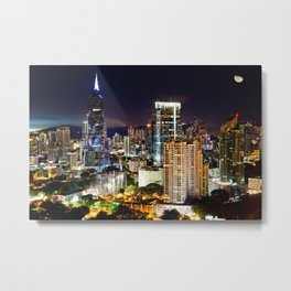 Cityscape at Night with Moon Metal Print