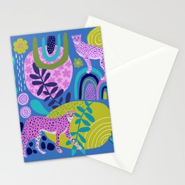 Two Cheetahs on Blue Stationery Cards