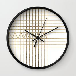 Modern white faux gold abstract geometrical lines Wall Clock