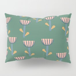 Folksy Floral Pattern in Green Pillow Sham