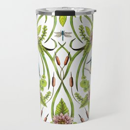 Common Kingfisher, Water Lilies, Dragonflies & Cattails Pattern Travel Mug