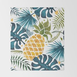 Golden pineapple on palm leaves foliage Throw Blanket