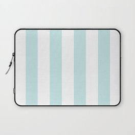 Duck Egg Pale Aqua Blue and White Wide Vertical Cabana Tent Stripe Laptop Sleeve