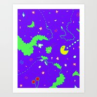 pac man Art Prints featuring Pac-Man by Amanda Trader