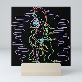 Woman with Grim Neon Mini Art Print
