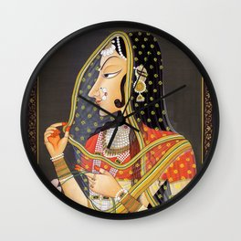 Bani Thani female portrait painting in traditional Rajasthani, the Mona Lisa of India  Wall Clock