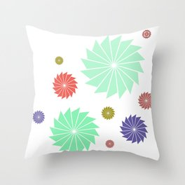 Scattered Graphic Geometric Flowers Throw Pillow
