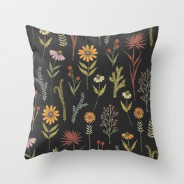 flat lay floral pattern on a dark background Throw Pillow