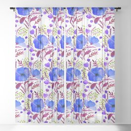 Flower bouquet with poppies - blue and purple Sheer Curtain