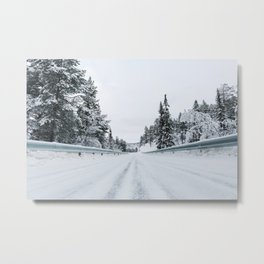 White Winter in Scandinavia - Remote Road Through Fir Tree Forest Metal Print