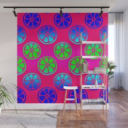 Tropical exotic juicy neon green and blue orange citrus slices decorative summer fruity raspberry pink whimsical cute pattern design. Wall Mural