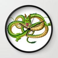 dragon ball Wall Clocks featuring Shenron Dragon ball by OverClocked