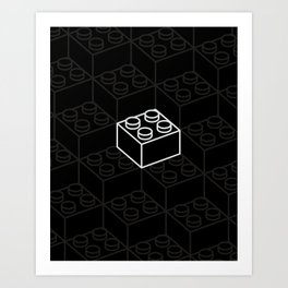 2x2 Legoblock Black pattern Art Print