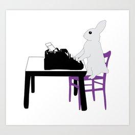A Bunny's Life, animal gift, typing bunny, animal lover gift, bunny gift Art Print