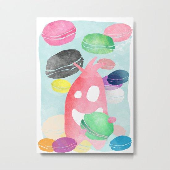 A wild creature in a macaron rain Metal Print