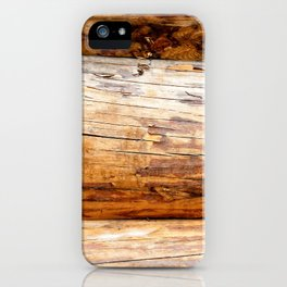 Wooden Log Wall Of A Vintage Cabin iPhone Case