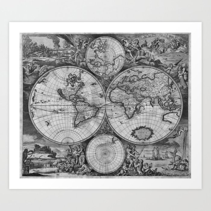 graphic relating to Vintage World Map Printable identify Traditional World-wide Map print in opposition to 1689 - black and white Artwork Print by way of mariannamills