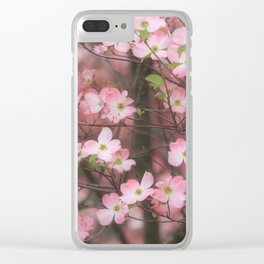 Pink Dogwoods Clear iPhone Case
