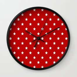 Red Background With White Stars Pattern Wall Clock