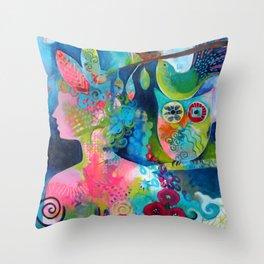 Goddess of the Birds Throw Pillow
