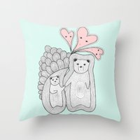 bears Throw Pillows featuring bears by s t i n g s