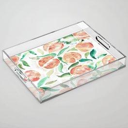 Watercolor Peaches Acrylic Tray