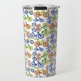 Colorful Bikes Fun Bicycles in Red, Blue, Orange, Yellow Pattern Travel Mug