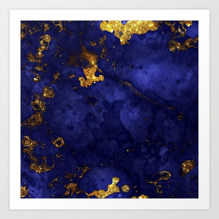 Gold Blue Indigo Malachite Marble Art Print