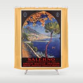 Salerno Italy vintage summer travel ad Shower Curtain