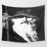 mythology Wall Tapestries featuring  Scandinavian Mythology the Ancient God Odin by taiche
