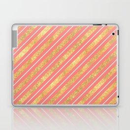 Modern elegant faux gold glitter coral geometric stripes Laptop & iPad Skin